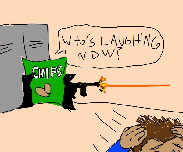 Giant potato chip gun attack at school