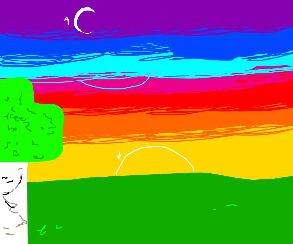 Minecraft at sunset