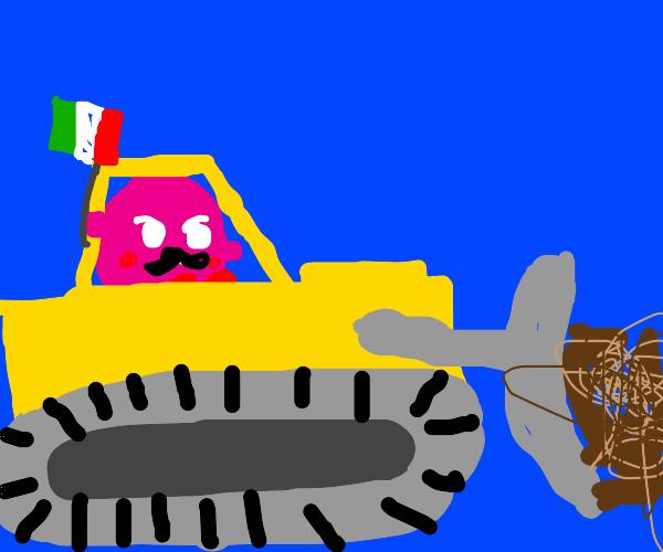 an italian kirby bulldozing a house