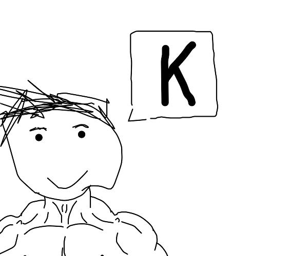 A man tells us the chem symbol for Potassium.