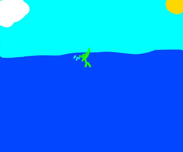 Drowning goblin