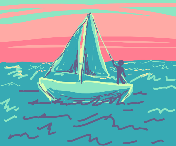 sailboat on the sea (all green)