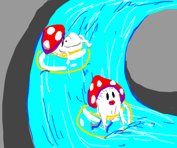 Mushrooms going down a lazy river