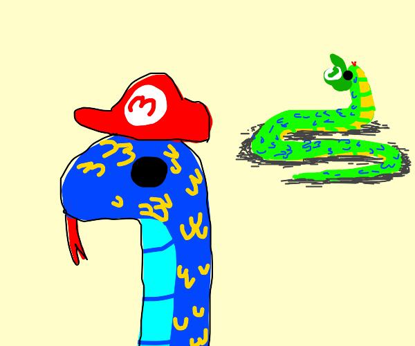 Mario and Luigi as snakes