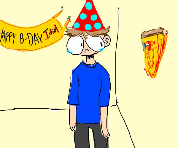 Sad kid at b-day party looking at nail pizza