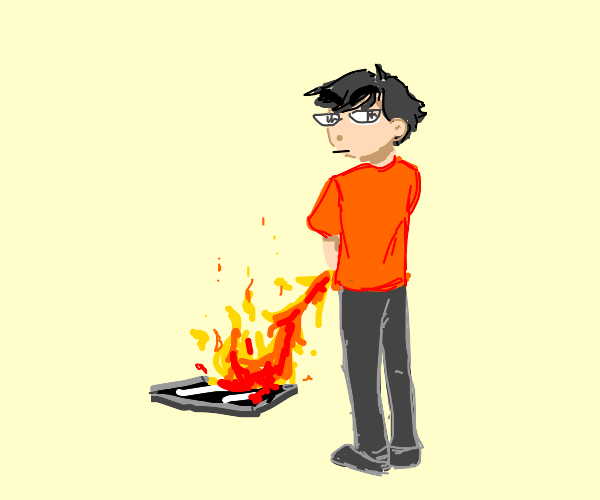 person peeing fire on a tablet