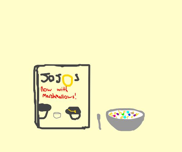 JoJo's cereal with joestar marshmallows