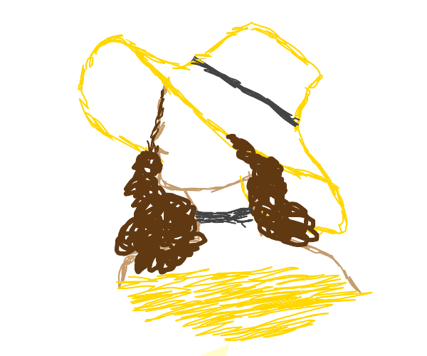 A woman with curly hair, a sunhat and collar