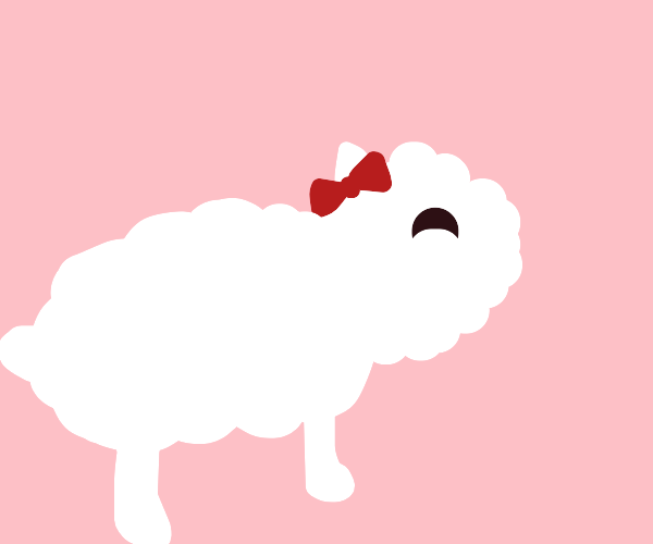 sheep with a bow