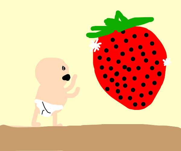 A baby eating a gigant strawberry