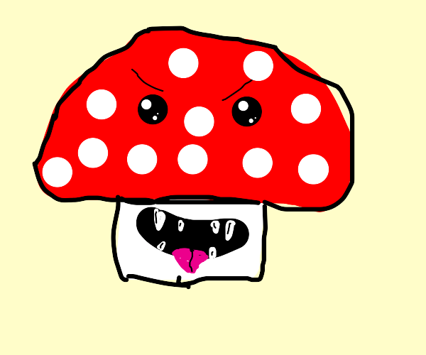 Toadstool with eyes and teeth