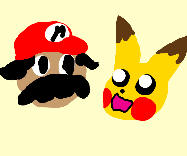 mario and pikachu