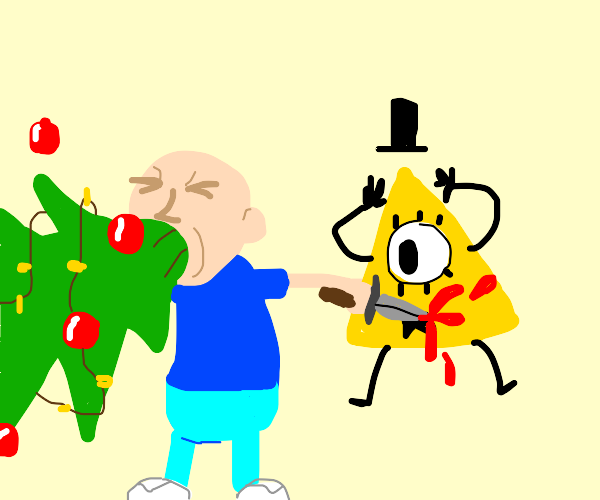 Man puking Christmas tree stabs bill cipher