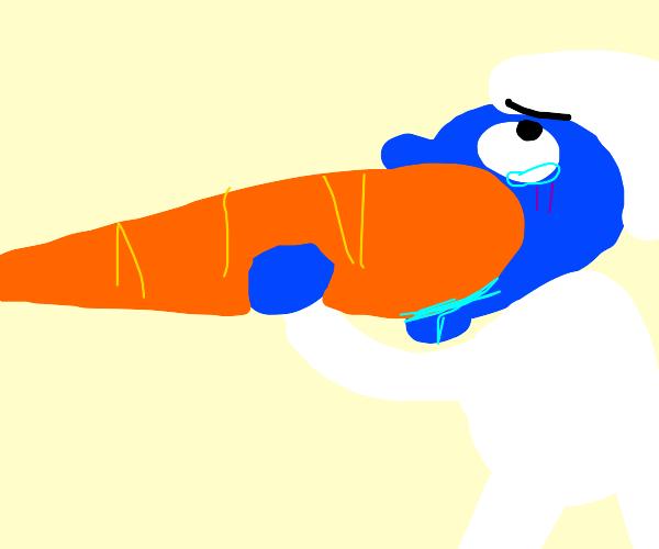 Smurf eats a carrot