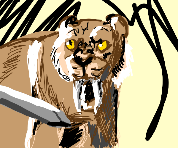 An angry Sabertooth Tiger eating a sword