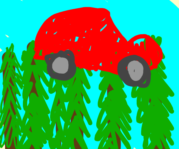 Red car on top of tall trees