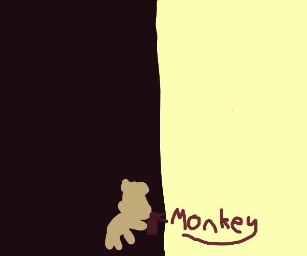 Monkey writing 'monkey'on wall with spray