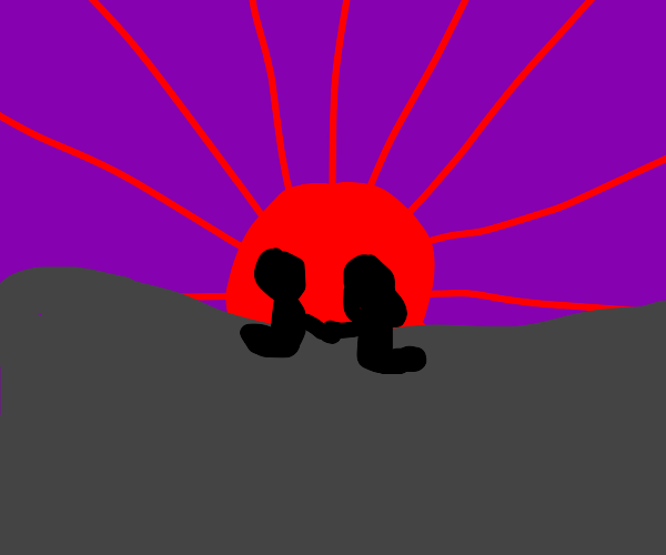 2 people watch the sunset