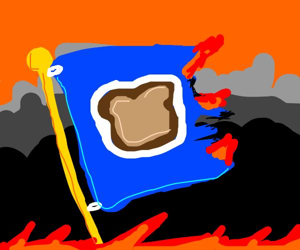 Flag of Breadland being burnt.