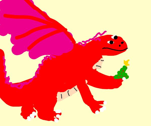 Dragon holds a tiny christmas tree