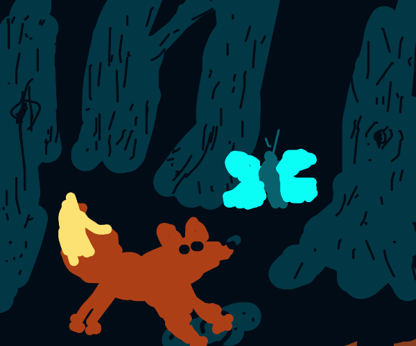 Fox discovers butterfly in the woods