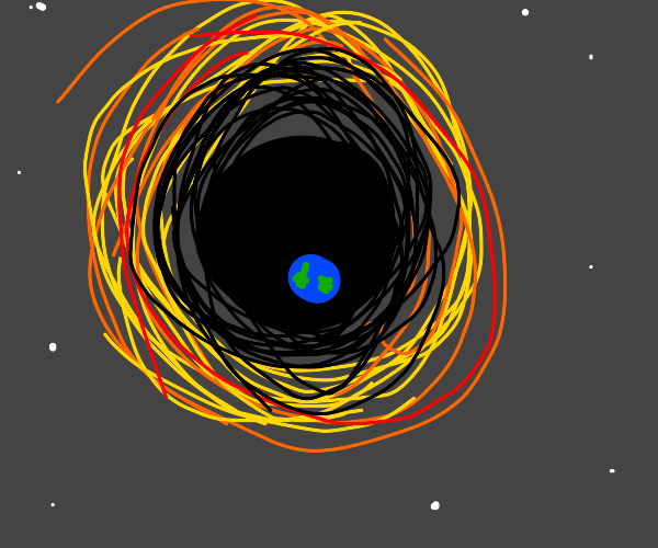 Earth swallowed by black hole