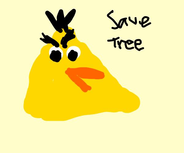 Angry bird says Save Tree