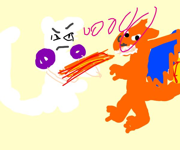 Mewtwo fighting Charizard