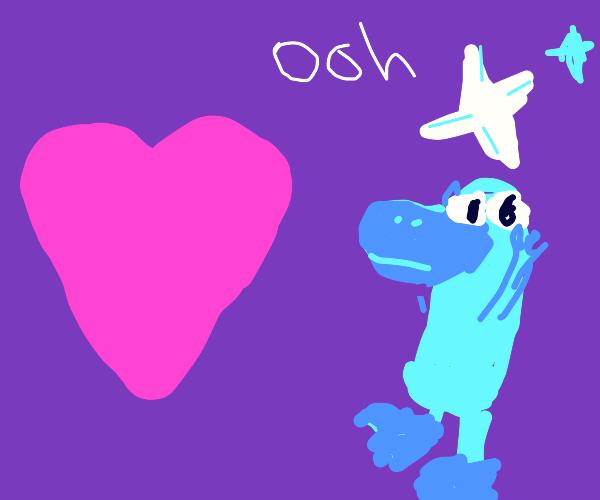 """looks at heart """"ooh Shinny"""""""