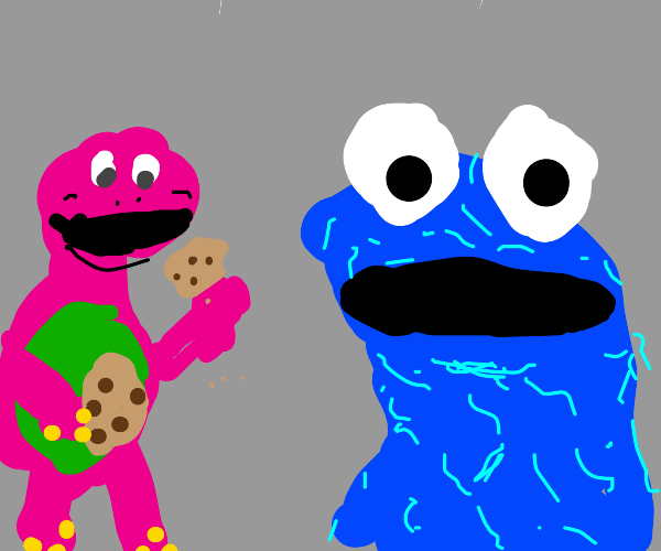 Barney stole and ate Cookie Monster's cookies