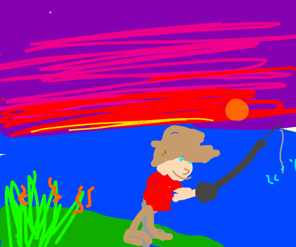Man Fishing in the Evening