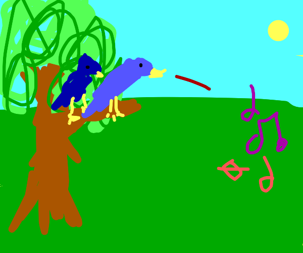 Two Blue birds looking at a music notes.