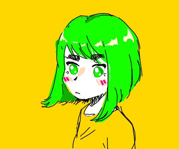 Anime girl with bright green hair