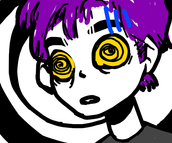 Purple haired guy with hypnotic eyes
