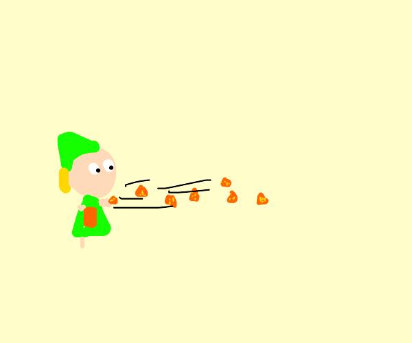 Link throws all the Doritos!