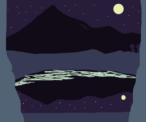 Painting of a mountain with lake at night