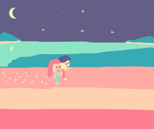 lovers walking on the beach