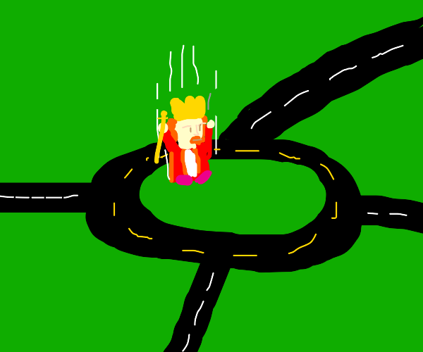 King drops into roundabout