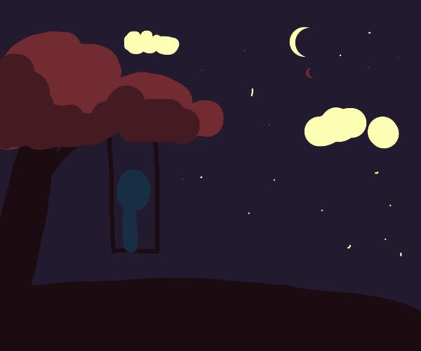 Tree swing at night