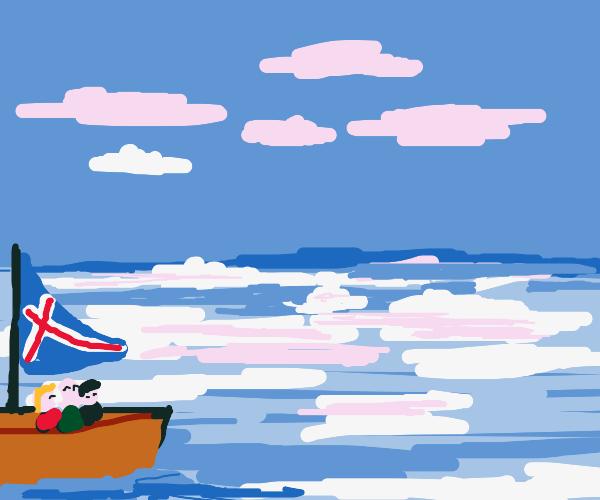 Icelandic sailors in the arctic sea