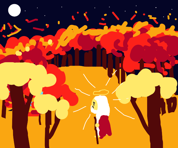 god in a fire forest
