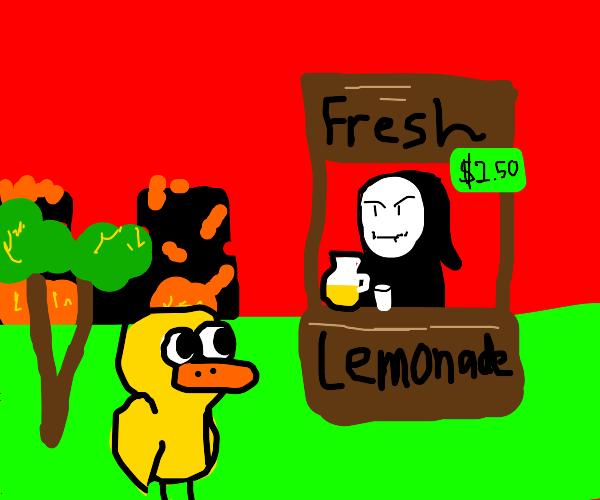 The Grim Reaper sells lemonade