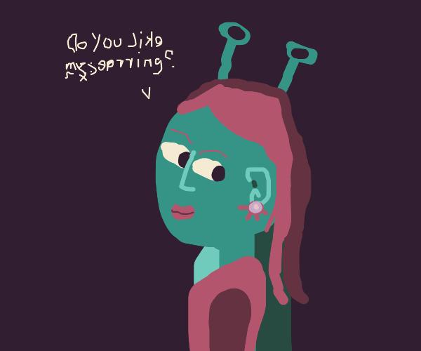 alien girl asks if you like her new earrings