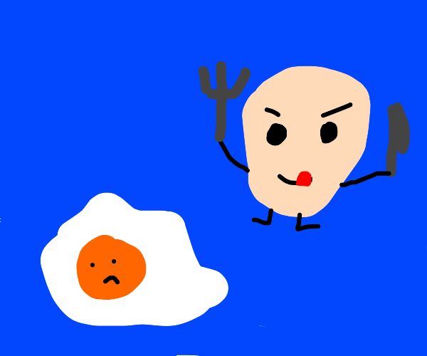 Egg wants to eat other egg