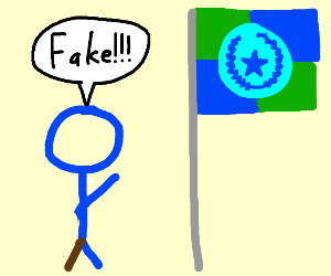 Blue Amputee Stick Figure Discrediting a Flag