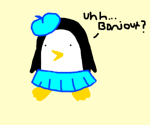 Penguin wants to be fancy French girl