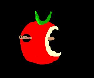 Worm in fruit