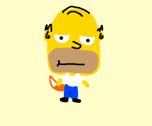 Homer Simpson with a big head and a fox tail.
