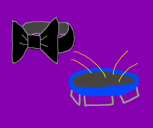 the bowtie must land on the trampoline