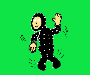 Man dancing in front of greenscreen